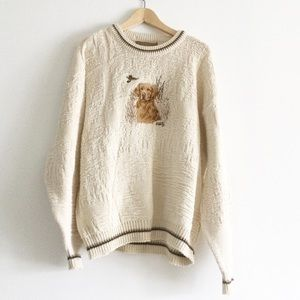 Vintage Knit Golden Retriever Hunting Duck Sweater